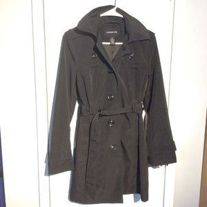 London Fog trench rain coat size small with hood.